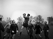 Irish Rugby Football Union, Ireland v Wales, Five Nations, Welsh team practice, Dublin, Ireland, Friday 14th March, 1958,.14.3.1958, 3.14.1958,.  .Welsh Team, ..A J Priday, Wearing number 1 Welsh jersey, Full Back, Cardiff Rugby Football Club, Cardiff, Wales,..H Nicholls, Wearing number 5 Welsh jersey, Left Wing, Cardiff Rugby Football Club, Cardiff, Wales,..C Davies, Wearing number 4 Welsh jersey,Left centre, Llanelly Rugby Football Club, Llanelly, Wales,..M C Thomas, Wearing number 3 Welsh jersey, Right Centre, Newport Rugby Football Club, Newport, Wales, ..J Collins, Wearing number 2 Welsh jersey, Right Wing,  Aberavon Rugby Football Club, Port Talbot, Wales, ...C I Morgan, Wearing number 6 Welsh jersey, Outside Half, Cardiff Rugby Football Club, Cardiff, Wales,..Lloyd Williams, Wearing number 7 Welsh jersey, Scrum Half, Cardiff Rugby Football Club, Cardiff, Wales,..R Prosser, Wearing number 8 Welsh jersey, Forward, Pontypool Rugby Football Club, Pontypool, Wales,..B V Meredith, Wearing number 9 Welsh jersey, Forward, Newport Rugby Football Club, Newport, Wales,..J D Evans, Wearing number 10 Welsh jersey, Forward, Cardiff Rugby Football Club, Cardiff, Wales,..R H Williams, Wearing number 11 Welsh jersey, Forward, Llanelly Rugby Football Club, Llanelly, Wales, ..W R Evans, Wearing number 12 Welsh jersey, Forward, Cardiff Rugby Football Club, Cardiff, Wales,..R C C Thomas, Wearing number 13 Welsh jersey, Captain of the Welsh team, Forward, Swansea Rugby Football Club, Swansea, Wales, ..J Faull, Wearing number 14 Welsh jersey, Forward, Swansea Rugby Football Club, Swansea, Wales, ..H J Morgan, Wearing number 15 Welsh jersey, Forward, Abertillery Rugby Football Club, Gwent, South Wales, ..