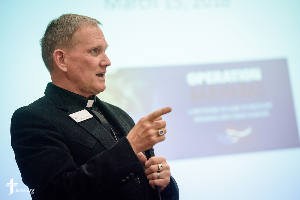 The Rev. Dr. Michael A. Morehouse, pastor of Catalina Lutheran Church, Catalina, Ariz., speaks during the Operation Barnabas conference event on Thursday, March 15, 2018, at the Hilton St. Louis Airport hotel in St. Louis. LCMS Communications/Erik M. Lunsford