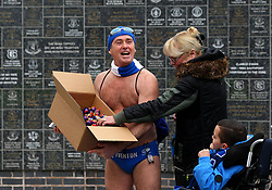'Speedo Mick' hands out Cream Eggs ahead of the Easter Saturday Premier League fixture between Everton and Manchester City - Mandatory by-line: Robbie Stephenson/JMP - 31/03/2018 - FOOTBALL - Goodison Park - Liverpool, England - Everton v Manchester City - Premier League