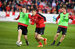 ADELAIDE, AUSTRALIA - Sunday, July 19, 2015: Liverpool's Jordan Rossiter and James Milner during a training session at Coopers Stadium ahead of a preseason friendly match against Adelaide United on day seven of the club's preseason tour. (Pic by David Rawcliffe/Propaganda)