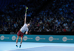 November 17, 2016 - London, United Kingdom - David Goffin (BEL)(9)action against Novak Djokovic (SRB)(2) in their  Ivan Lendl Group  match during Day Five  of the Barclays ATP World Tour Finals 2015 played at The O2 Arena, London on November 17th  2016. (Credit Image: © Kieran Galvin/NurPhoto via ZUMA Press)