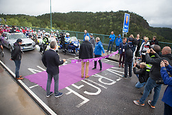 Brian Cookson is ready to kick-off the racing on the Norwegian-Swedish border on the Svinesund bridge before Stage 3 of the Ladies Tour of Norway - a 156.6 km road race, between Svinesund (SE) and Halden on August 20, 2017, in Ostfold, Norway. (Photo by Balint Hamvas/Velofocus.com)