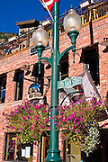 Lamp post and flag at the Ouray Brewery, Ouray, Colorado