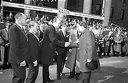 17/3/1966<br /> 3/17/1966<br /> 17 March 1966<br /> <br /> Dr. P.J. Hillery T.D Minister for Industry and Commerce(third from Left) welcoming on of the Belfast visitors to the Review Platform prior to the Parade, Mr. H.A. Hadden (right) Vice-President, Belfast Junior Chamber of Commerce, and Chairman, Lord Mayor's Show, Belfast. Also in the Picture are Alderman Eugene Timmons, Lord Mayor of Dublin(2nd fem right); Mr. Sydney Gibbons, President of the Federation of Irish Industries(left)and Mr. Sean O'Bradaigh Vice President NAIDA(2nd from the left)