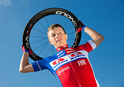 Klemen Stimulak of Cycling Team Adria Mobil poses for a portrait session ahead of the 2014 road season on February 25, 2014 in Cesca vas at Novo mesto, Slovenia. Photo by Vid Ponikvar / Sportida