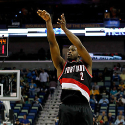 January 16, 2012; New Orleans, LA, USA; Portland Trail Blazers guard Wesley Matthews (2) against the New Orleans Hornets during the third quarter of a game at the New Orleans Arena. The Trail Blazers defeated the Hornets 84-77.  Mandatory Credit: Derick E. Hingle-US PRESSWIRE