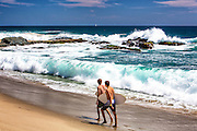 Local Teen Boys With Skim Boards at Table Rock Beach in Laguna Beach