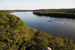 The Connecticut River in East Haddam, Connecticut.  As seen from Gillette Castle in Gillette Castle State Park.  Summer.