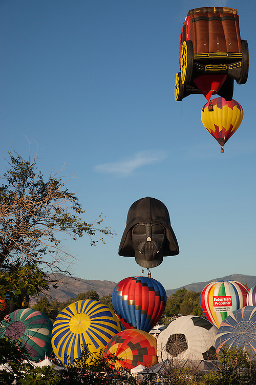 """Great Reno Balloon Race 10"" - Photograph of hot air balloons lifting off during the mass ascension at the 2012 Great Reno Balloon Race."