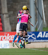 Dundee&rsquo;s Kevin Holt and Darren O&rsquo;Dea battle in the air with St Johnstone&rsquo;s Graham Cummins - St Johnstone v Dundee in the Ladbrokes Scottish Premiership at McDiarmid Park, Perth: Picture &copy; David Young<br /> <br />  - &copy; David Young - www.davidyoungphoto.co.uk - email: davidyoungphoto@gmail.com