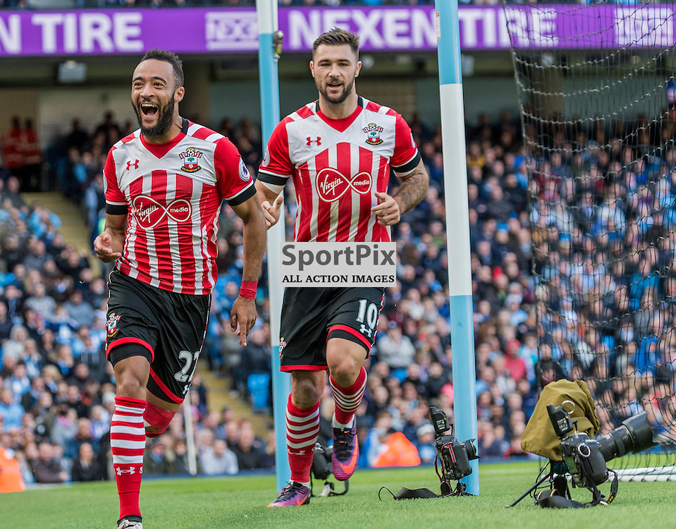 Southampton midfielder Nathan Redmond (22) celebrates giving his side a 1-0 lead in the Premier League match between Manchester City and Southampton<br /> <br /> (c) John Baguley | SportPix.org.uk