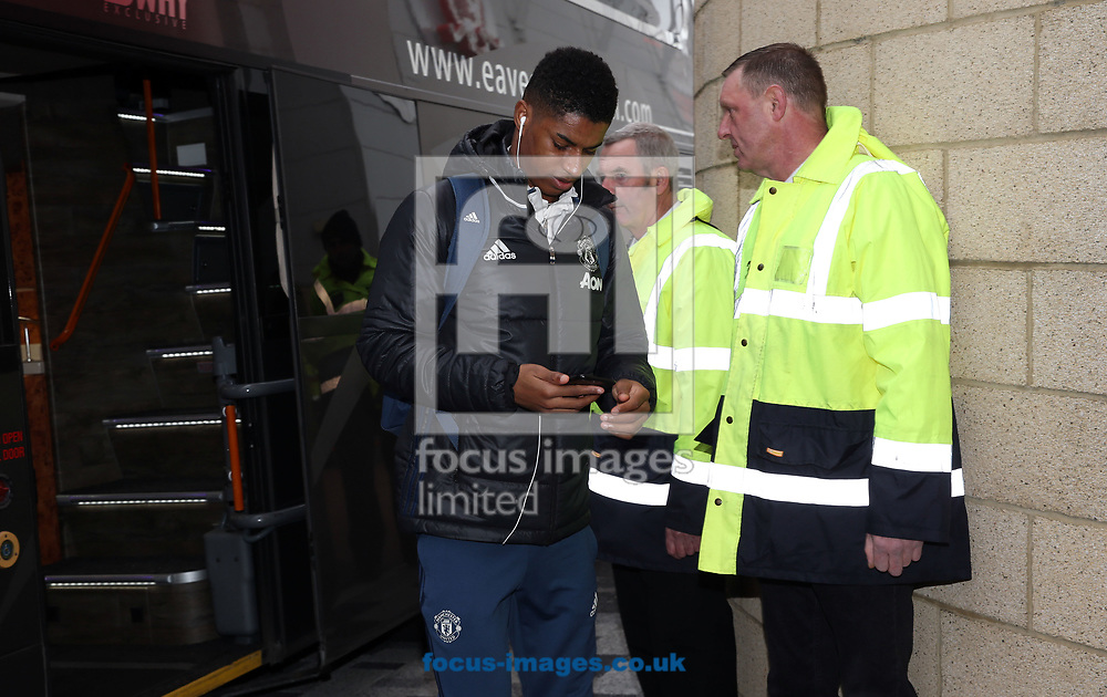 Marcus Rashford of Manchester United arrives prior to the Premier League match at the Riverside Stadium, Middlesbrough<br /> Picture by Christopher Booth/Focus Images Ltd 07711958291<br /> 19/03/2017