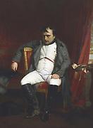 Napoleon at Fontainbleau During the First Abdication - April 1814'. Napoleon Bonaparte (1769-1821).  (Hippolyte) Paul Delaroche (1797-1859) French painter. Oil on canvas. Musee de l'Armee, Paris.