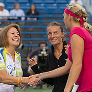 August 22, 2014, New Haven, CT:<br /> Coin toss before the semi-final match between Petra Kvitova and Samantha Stosur on day eight of the 2014 Connecticut Open at the Yale University Tennis Center in New Haven, Connecticut Friday, August 22, 2014.<br /> (Photo by Billie Weiss/Connecticut Open)