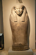 Ancient Egyptian engraved stone coffin for mummified bodies. Kunsthistorisches Museum (Museum of Fine Arts) in Vienna, Austria