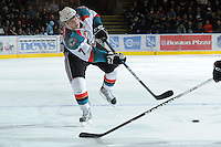 KELOWNA, CANADA - FEBRUARY 18: Damon Severson #7 of the Kelowna Rockets takes a shot against the Red Deer Rebels at the Kelowna Rockets on February 18, 2012 at Prospera Place in Kelowna, British Columbia, Canada (Photo by Marissa Baecker/Shoot the Breeze) *** Local Caption ***