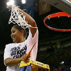 Apr 9, 2013; New Orleans, LA, USA; Connecticut Huskies forward Kaleena Mosqueda-Lewis (23) celebrates after cutting the net after the championship game in the 2013 NCAA womens Final Four against the Louisville Cardinals at the New Orleans Arena. Connecticut defeated Louisville 93-60. Mandatory Credit: Derick E. Hingle-USA TODAY Sports