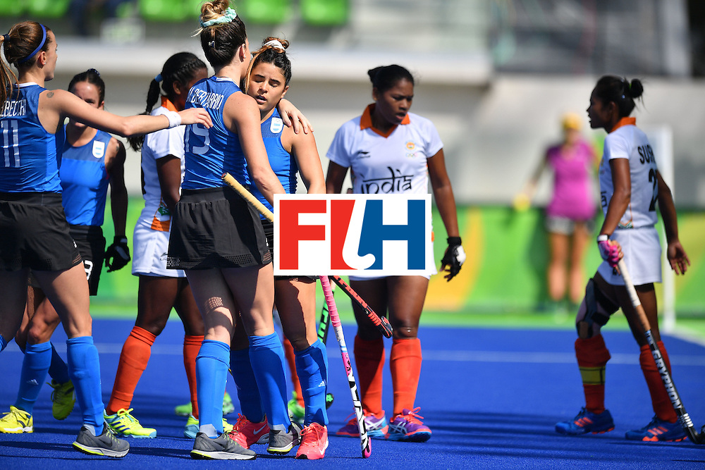 Argentina's Maria Granatto (C) celebrates scoring with her teammates during the women's field hockey Argentina vs India match of the Rio 2016 Olympics Games at the Olympic Hockey Centre in Rio de Janeiro on August, 13 2016. / AFP / Carl DE SOUZA        (Photo credit should read CARL DE SOUZA/AFP/Getty Images)