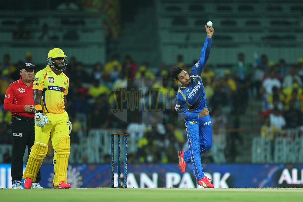 Ankit Sharma of the Rajasthan Royals  during match 47 of the Pepsi IPL 2015 (Indian Premier League) between The Chennai Superkings and The Rajasthan Royals held at the M. A. Chidambaram Stadium, Chennai Stadium in Chennai, India on the 10th May 2015.<br /> <br /> Photo by:  Ron Gaunt / SPORTZPICS / IPL