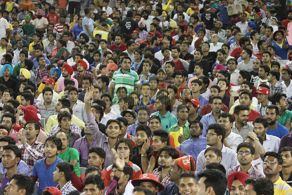IPL fans during match 48 of the Pepsi Indian Premier League Season 2014 between the Kings XI Punjab and the Mumbai Indians held at the Punjab Cricket Association Stadium, Mohali, India on the 21st May  2014<br /> <br /> Photo by Arjun Panwar / IPL / SPORTZPICS<br /> <br /> <br /> <br /> Image use subject to terms and conditions which can be found here:  http://sportzpics.photoshelter.com/gallery/Pepsi-IPL-Image-terms-and-conditions/G00004VW1IVJ.gB0/C0000TScjhBM6ikg