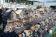 Western log town in extensive model train diorama at Mom & Pop RV Park, Farmington, New Mexico, USA.