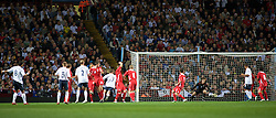 BIRMINGHAM, ENGLAND - Monday, October 13, 2008: England's Tom Huddlestone scores the opening goal from a free kick against Wales during the UEFA European Under-21 Championship Play-Off 2nd Leg match at Villa Park. (Photo by Gareth Davies/Propaganda)