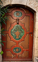 home door of the typical south east of france old stone village of saint paul de vence on the french riviera refuge of many artist,painters,sculptors