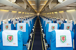 CARDIFF, WALES - Wednesday, September 1, 2010: The Wales crest adorns the head rests of the seats onboard the official Wales team plane at Cardiff Airport as the squad head out to Podgorica ahead of the opening UEFA Euro 2012 Qualifying Group 4 match against Montenegro. (Pic by David Rawcliffe/Propaganda)