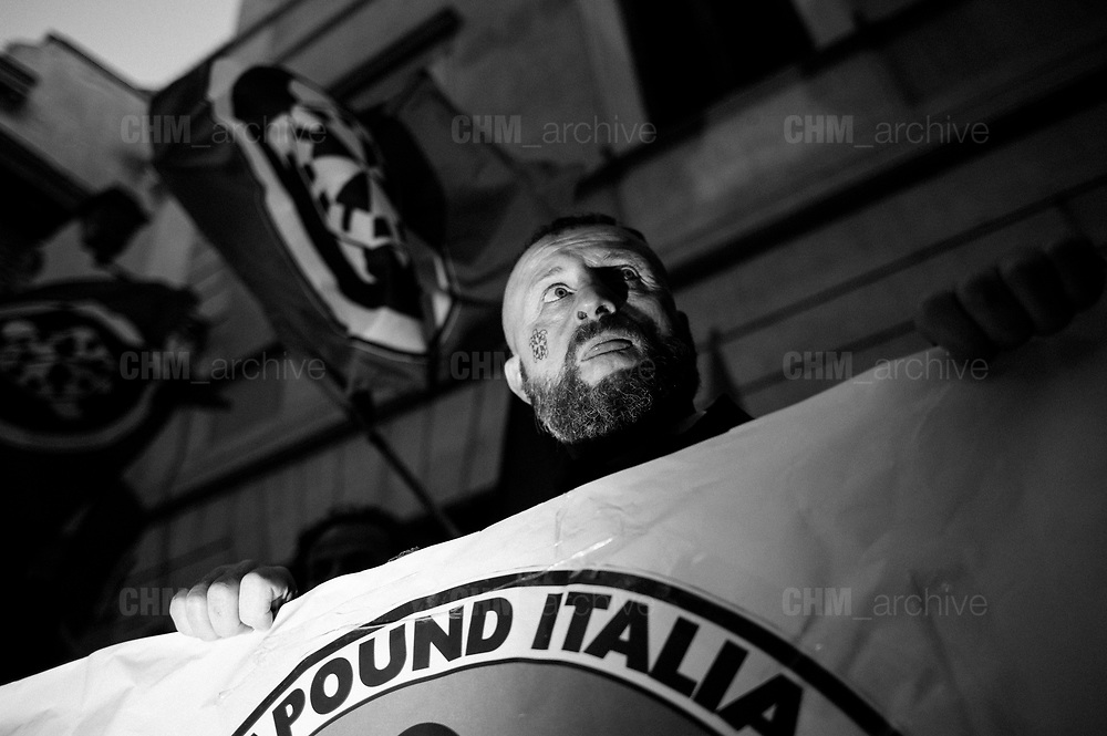 Members of the Italian far-right political movement CasaPound take part in a protest against a mosque in the Esquilino district. Rome 4 october 2017. Christian Mantuano / OneShot