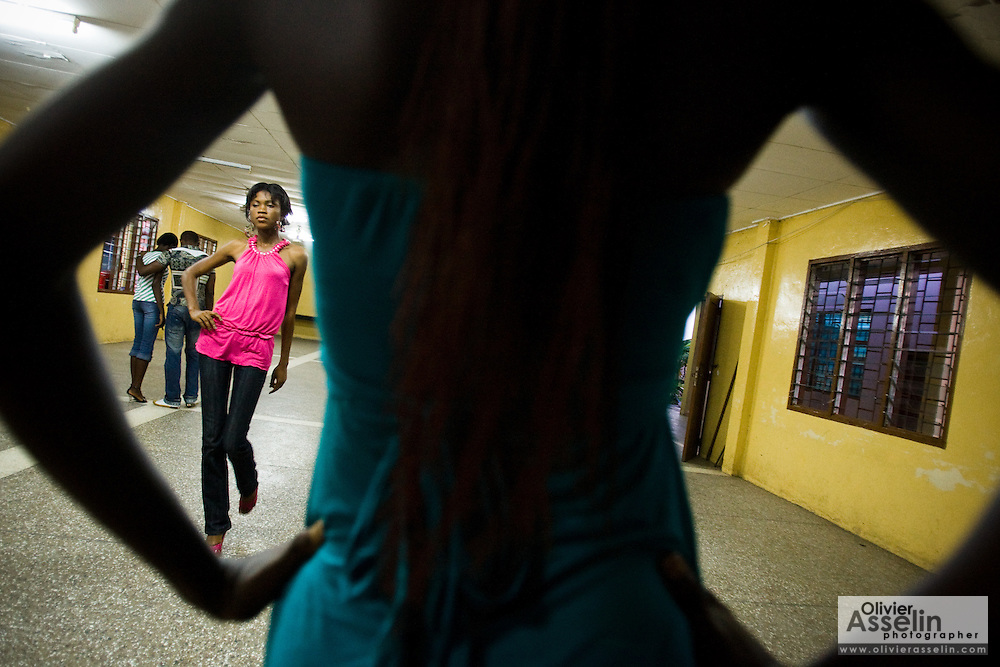 Matilda Mikekpor (left), 23, practices her catwalk during a rehearsal in Ghana's capital Accra on Thursday May 21, 2009. Matilda is one of several Ghanaian girls who auditioned for the upcoming television show West Africa's Next Top Model, the latest incarnation of Tyra Banks' America's Next Top Model.