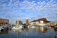 Townsville city and waterfront with Castle hill in background, Queensland, Australia.