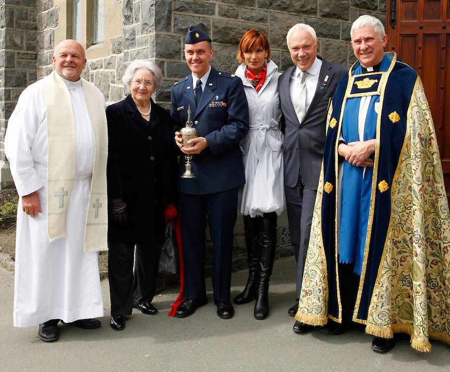 Father Dan Doyle, left,  Lady June Hillary, Rev. Major John Torres with the Erebus Chalice, Mayoress Jo Nichols-Parker, Mayor of Christchurch Bob Parker and the Very Reverend Peter Beck, following the South to Antarctica Service, Christchurch, New Zealand, Sunday, October 02, 2011.  Credit:SNPA / Pam Johnson