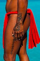 Polynesian man with tattoos, Four Seasons Resort Bora Bora, French Polynesia.