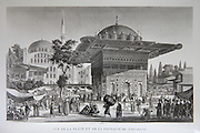 The Tophane fountain, a public water fountain built by Sultan Mahmud I in Ottoman Rococo style in the 18th century, in Tophane Square, Instanbul, Turkey, engraving, c. 1860. Copyright © Collection Particuliere Tropmi / Manuel Cohen