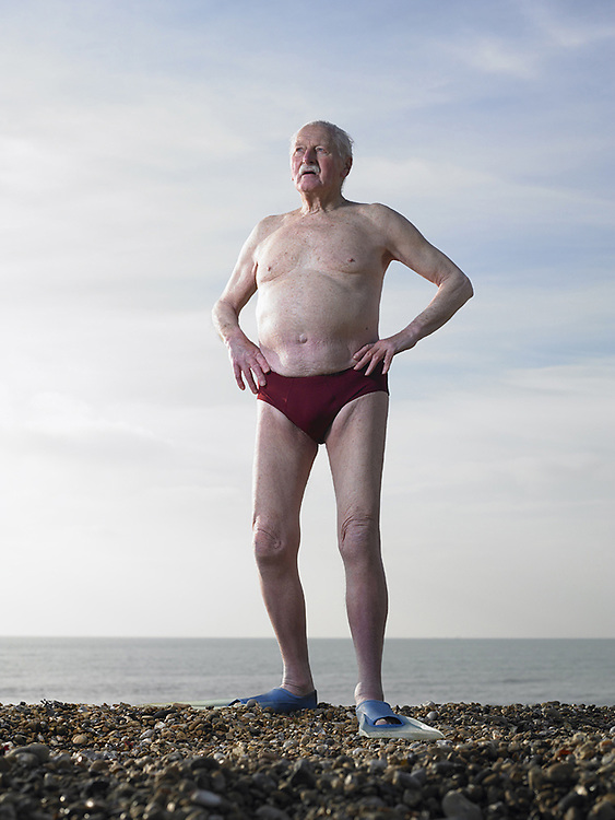 Elderly Swimmer on Beach<br />