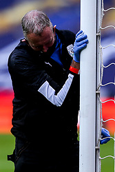 The goalposts at The Hawthorns are disinfected as part of Covid-19 protocols - Mandatory by-line: Robbie Stephenson/JMP - 08/07/2020 - FOOTBALL - The Hawthorns - West Bromwich, England - West Bromwich Albion v Derby County - Sky Bet Championship