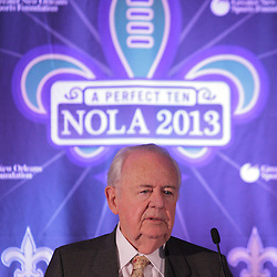 Sep 2, 2009; New Orleans, LA, USA; New Orleans Saints owner Tom Benson talks during a Super Bowl XLVII press conference at the New Orleans Convention Center and Bureau.   Mandatory Credit: Derick E. Hingle