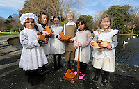 Pictured before the Children's Duck Parade  in Dublin's St Stephens Green were ,Georgina Corrigan {4} with Isobel Hogan [5], Bronagh Murphy [7] Holly Parson [6], Zoe Roberts [4] and Lucy Ryan [5] . Picture Credit:Frank Mc Grath<br /> 28/3/16