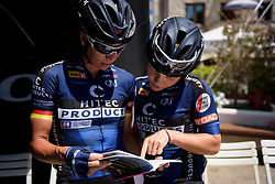 Emilie Moberg and Charlotte Becker check the road book prior to Stage 9 of the Giro Rosa - a 122.3 km road race, between Centola fraz. Palinuro and Polla on July 8, 2017, in Salerno, Italy. (Photo by Sean Robinson/Velofocus.com)