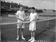 30/08/1952<br /> 08/30/1952<br /> 30 August 1952<br /> Tennis - Irish National Junior Championships at Fitzwilliam Tennis Club. Jim Buckley, Xaviers School, Dublin, Irish Junior Tennis Champion with runner-up Des Scannell (Cork).
