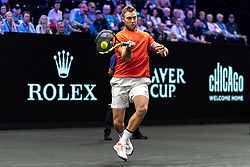 September 21, 2018 - Chicago, IL, U.S. - CHICAGO, IL - SEPTEMBER 21: Team World Jack Sock of the United States returns a shot against Team Europe Kyle Edmund of Great Britain during their Men's Singles match on day one of the 2018 Laver Cup at the United Center on September 21, 2018 in Chicago, Illinois. (Photo by Robin Alam/Icon Sportswire) (Credit Image: © Robin Alam/Icon SMI via ZUMA Press)