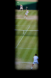 LONDON, ENGLAND - Friday, June 26, 2009: Tommy Haas (GER) serves during the Gentlemen's Singles 3rd Round match on day five of the Wimbledon Lawn Tennis Championships at the All England Lawn Tennis and Croquet Club. (Pic by David Rawcliffe/Propaganda)