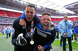 Kelle Roos of AFC Wimbledon celebrates promotion to League Two with Goalkeeping coach Ashley Bayes - Mandatory by-line: Robbie Stephenson/JMP - 30/05/2016 - FOOTBALL - Wembley Stadium - London, England - AFC Wimbledon v Plymouth Argyle - Sky Bet League Two Play-off Final