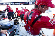 SPAIN, Alicante. 20th October 2011. On board Team Sanya practice session. Watch Leader Chris Main.