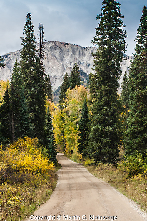 Lost Lake Road in the West Elk Mountains with Marcellina Mountain in the distance, Colorado.