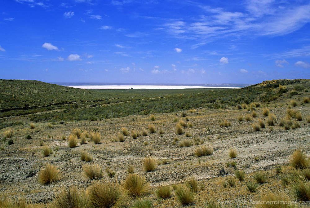 South America, Argentina, Peninsula Valdes. Salt Lake below sea level.