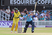 Anya Shrubsole of England (41) is caught by Beth Mooney of Australia (6) during the Royal London Women's One Day International match between England Women Cricket and Australia at the Fischer County Ground, Grace Road, Leicester, United Kingdom on 4 July 2019.