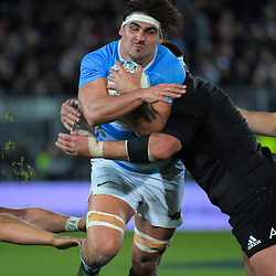 Pablo Matera is tackled during the Rugby Championship match between the New Zealand All Blacks and Argentina Pumas at Trafalgar Park in Nelson, New Zealand on Saturday, 8 September 2018. Photo: Dave Lintott / lintottphoto.co.nz