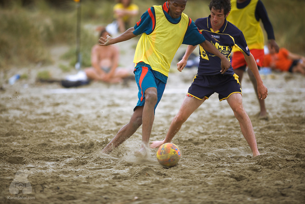 Wellington, New Zealand, 24 february, 2008. A team of the United Arab Emirates face Wellington's Kapiti Coast United in the first annual beach football international competition, at Lyall Bay.