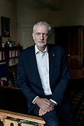 London, England, UK, November 6 2018 - Portrait of Jeremy Corbyn, British politician serving as Leader of the Labour Party and Leader of the Opposition, at his office in Portcullis House.